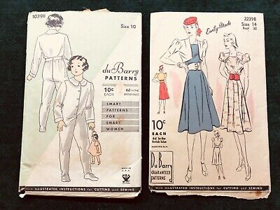 2 Antique DuBarry Sewing Patterns - Dress & Rompers 1930's