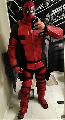 Halloween - Motorcycle Gear - Leather Deadpool Cosplay Costume - XL - FREE SHIP