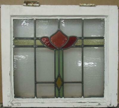 "OLD ENGLISH LEADED STAINED GLASS WINDOW Pretty Abstract Bands 18.75"" x 16.5"""