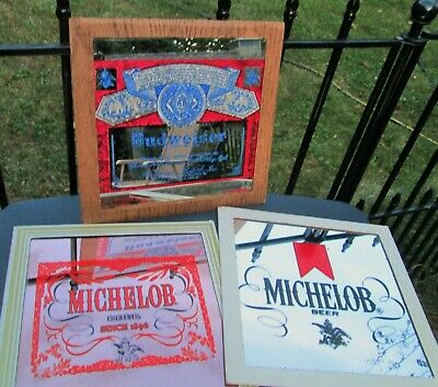 Vintage Carnival Glass Mirror Beer Sign Lot MICHELOB BUDWEISER