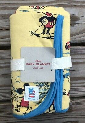 Disney Junk Food Baby Mickey Mouse Yellow & Blue Blanket 30x36 NWT