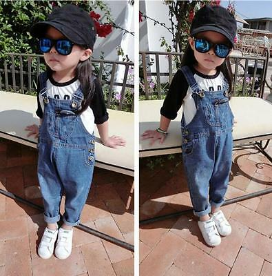 Kids Girls Boys Childrens Dungarees Jeans Denim Pants Button Belt Strap Trousers