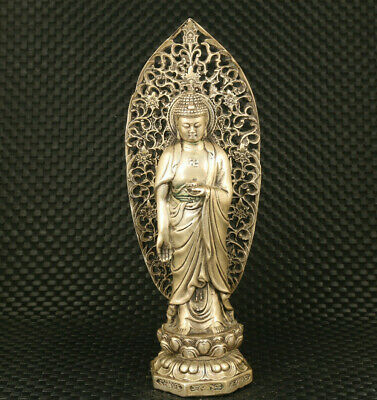 10 inch H Blessing Big copper Collection buddha statue figure temple garden Deco
