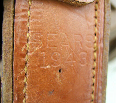 Vintage WWII US Army Leather BAR Parts Case Marked SEARS 1943 Re-enactor