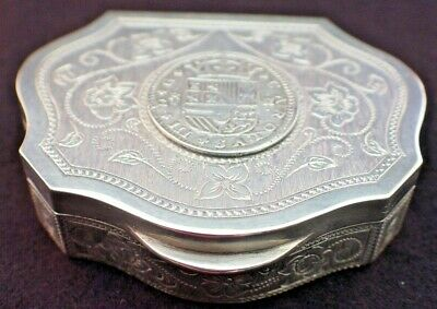 Antique Early 1900'S Beautiful Solid Silver Snuff Box With Spanish Coin Inserted