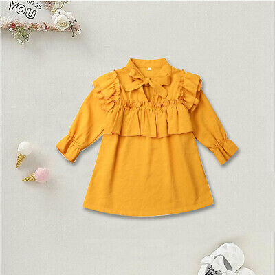 Toddler Kid Baby Girls Clothes Long Sleeve Ruffle Dress Party Dresses Autumn NEW