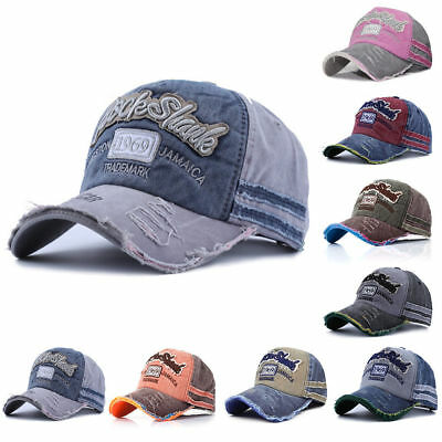 Men Women Unisex Vintage Baseball Cap Adjustable Denim Distressed Trucker Hat