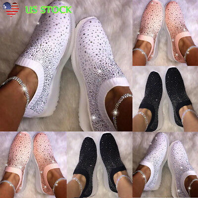 Women's Sequin Glitter Party Sneakers Slip On Casual Walking Athletic Shoes Size