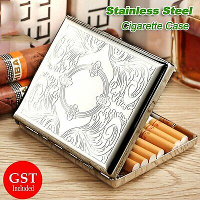 Cigarette Case stainless Steel Hold 20 Cigarettes Metal Carving Storage Box Gift