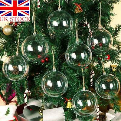 10/50 Clear Plastic Christmas Balls Baubles Sphere Fillable Xmas Tree Ornament