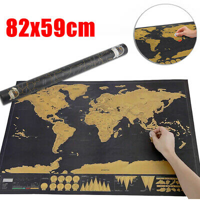 Scratch Off World Map Deluxe Edition Travel Log Journal Poster Wall Decor Gift