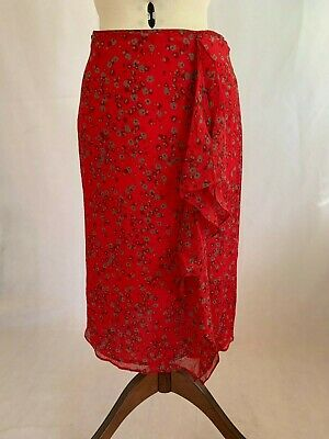 Veronika Maine Red Floral Silk Skirt - Size 8