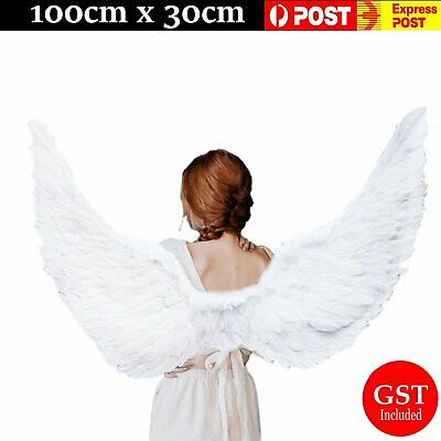 115cm X 45cm Feather Wings White Angel Fairy Wing Halloween Costume Fancy Dress