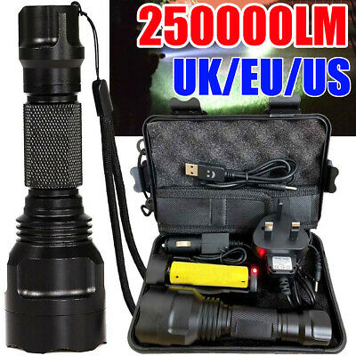 250000LM Waterproof T6 LED Torch Tactical Military Zoomable Flashlight Headlamp