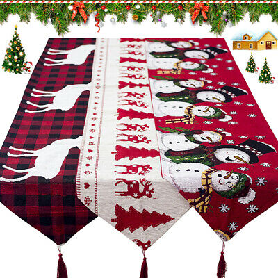 Christmas Table Runner Cover Cloth Tablecloth Decorations Cotton Linen Dining