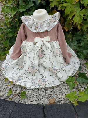 DREAM 0-4 YEARS BABY GIRLS TAN FLORAL FINe KNIT AUTUMN DRESS OR REBORN DOLL