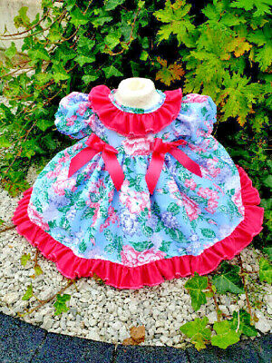 Dream 0-5 Years Baby Girls Autum Blue Cerise Puffball Lined Dress Or Reborn Doll