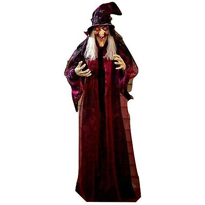 """71"""" HANGING ANIMATED TALKING WITCH Life Size Halloween Haunted House Prop Decor"""