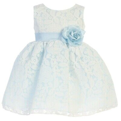Swea Pea & Lilli Baby Girls Light Blue Floral Tulle Easter Dress 12-18M