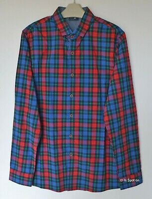 NEXT Boy's Blue Mix Check Cotton Casual Shirt, Age 13 Years, BNWT