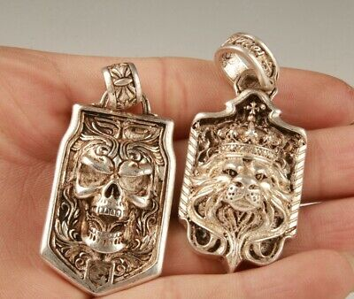 2 Retro China Tibetan Silver Hand-Carved Skull Lion Statue Pendant Gift Old