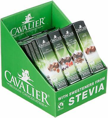 Cavalier Solid Stevia Chocolate Bars- Assorted 40g (Pack of 32)