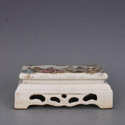 """5.2"""" Chinese Old Rare antique Porcelain qing famille rose character Table Statue"""