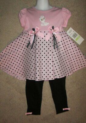 Rare Too! Girls 2 piece Pink Black Poodle Stretch Pants Set size 3T NWT