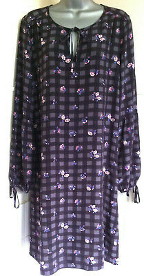 CATH KIDSTON grey check&floral loose tunic dress long statement sleeves12/14VGC
