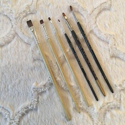LOT OF 6 Vintage Red Sable Paint Brushes Various Sizes  GUC