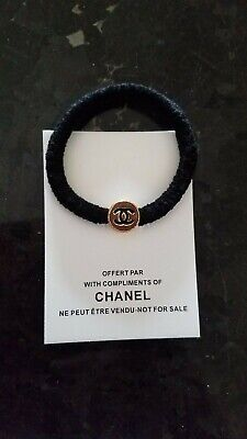 CHANEL VIP Gift Black Elastic Tie and Black on Gold CC Logo