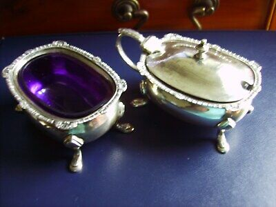 Set Of Two Condiments In Hallmarked Sterling Silver With Blue Glass Liners