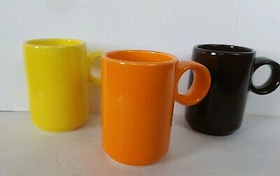 Mid-Century Modern 3 MUG Set Ring COFFEE Orange Chipped Brown Yellow Vtg Japan