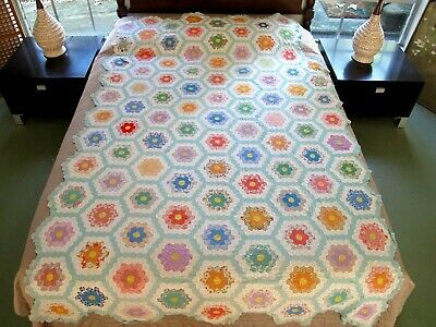 OUTSTANDING Vintage Hand Pieced Feed Sack FLOWER GARDEN Postage Stamp Quilt TOP