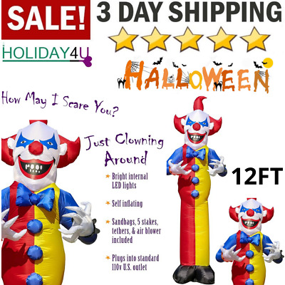 Inflatable Airblown Circus Clown Halloween Outdoor Yard Decoration 12 FT Tall