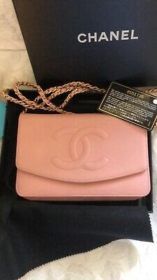 Chanel Pink Caviar CC Logo Wallet on Chain