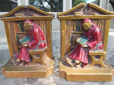 Antique 1922 L V Aronson Metal Bookends Monk Priest Cardinal Library Books Heavy