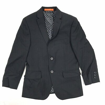 Tallia Suit Jacket Size 8 Boys Black Wool Single Breasted 2 Button Blazer Coat