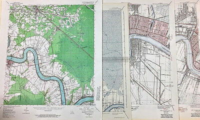 Vintage Louisiana Maps Donaldsonville & New Orleans  Editions 1892 - 1962