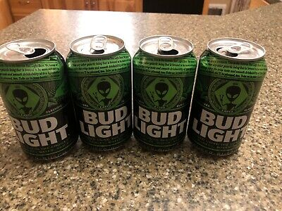 Lot Of 4 Bud Light Alien Cans Area 51 Empty  beer cans
