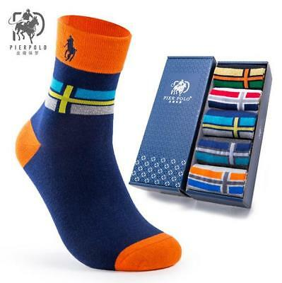 10 Pairs Pier POLO Mens Business Casual Cross Crew 100% Cotton Socks Sport