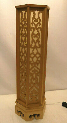 Vintage Wooden Buddhist Shinto Shrine Altar LIGHT Large ELECTRICAL LAMP Japan #3