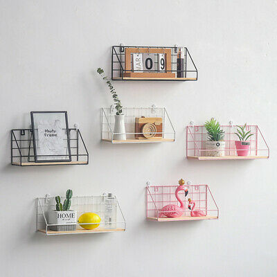 Wall Hang Shelf Iron Grid Storage Rack Household Craft Home Decoration US Wxm