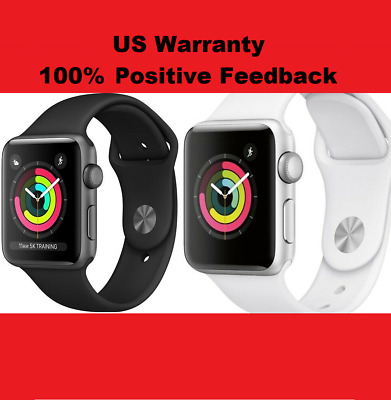 New Apple Watch Series 3 GPS Space Gray/Silver 38mm/42mm Black/White Sport Band