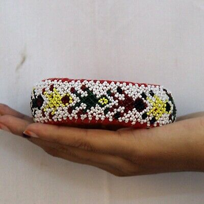 Pot Ring Cloth Hand Beads Made Indian Tribal Woman Head Pot Vintage Ring - 11374