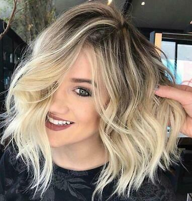 Short Womens Ladies Curly Wavy Blonde Bob Hair Wigs Natural Style Black Golden