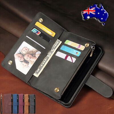 For Samsung Note 10+ S10e 5G S8 S9 Zipper Pocket Leather Case Flip Wallet Cover