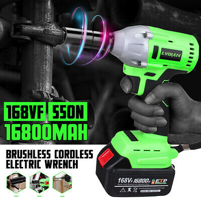 550N.M Electric Cordless Brushless Impact Wrench 168VF 3000rpm Ratchet Driver