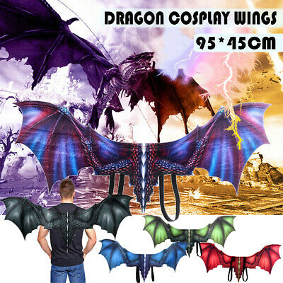 AU Stock Halloween Dragon Wings Kids Adult Costume Cosplay Realistic Fancy Dress
