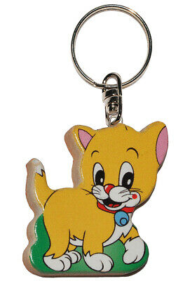 Keychain - Cat/Kitten - Very Stable Made Lacquered Wood - Pendant